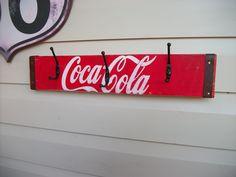 Coca Cola 3 hook coat hanger Soda crate sign with metal banding £5.50