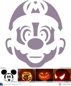 Pumpkin Carving Patterns Mario, Mickey Mouse, Spiderman