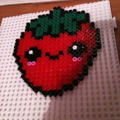 Kawaii strawberry hama perler beads by pugleybella