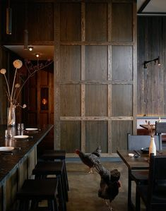 The restaurant takes its name, Samara, from the winged fruit of maple trees that twirls like a helicopter. That attention to nature find its counterpart … Bar Restaurant Design, Architecture Restaurant, Commercial Architecture, Dutch Still Life, Design Café, Interior Design, Wood Design, Charred Wood, Oak Panels