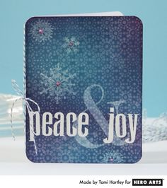 Hero Arts Cardmaking Idea: Peace & Joy   (Water background stamping)