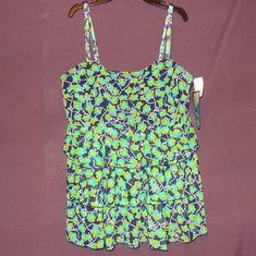 NWT Flowers Swimsuit Tankini Suit Top Size 20W Plus Green Blue Mazu Swim  #MazuSwim #TankiniTop