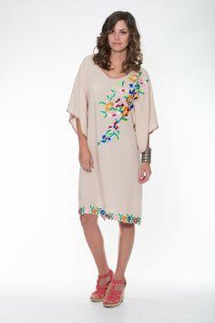 Ladli Australia Violet Dress Short – Beige  Beautifully Embroidered Kaftan, Hand Blanket Stitched on super soft wood bark fabric.