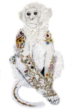 Monkey from Coalbrookdale by Karen Nicol, 2013, Raffia and sculptured stitch, 90 x 60 x 4 cm (Perspex Box Frame)