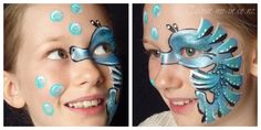 Blue Seahorse, face painted by Stephanie, www.colour-me-in.co.nz. A great design for children wanting an aquatic face paint that's a bit different from the usual mermaid, dolphin or shark. Face Painting Designs, Shark, Mermaid, Colour, Children, Blue, Color, Young Children, Kids