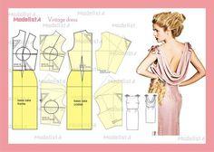 modelagem vestido vintage com decote drapeado nas costas. Fonte: https://www.facebook.com/photo.php?fbid=552862568082986=a.426468314055746.87238.422942631074981=1