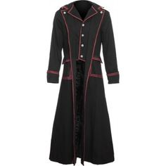 Goth Fashion for Men | Gothic men's clothing - black coat red lining by Raven SDL