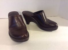Women's Solid Brown Leather Born Tall Heel Platform Clog Shoes Size 6 / 36.5 #Brn #Clogs #Casual