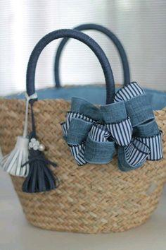 To my blue striped blouse Diy Sac, Diy Tote Bag, Art Bag, Straw Tote, Craft Bags, Basket Bag, Denim Bag, Summer Bags, Handmade Bags
