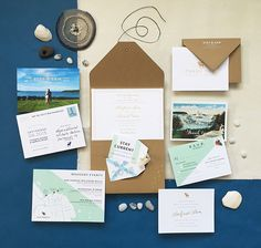 Maine Moose Wedding Invites / Gold Foil Nautical Wedding Invitation