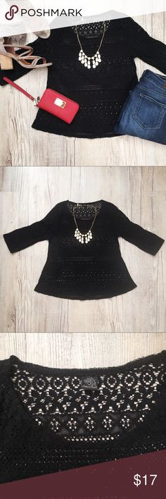 Anthropologie Only Hearts Lace Shirt Super cute Only Heart NYC black lace shirt. Pre-loved and in good condition. I typically wear a size small but this fits a little tighter and would be best for someone who wears xsmall. Only Hearts Tops Blouses