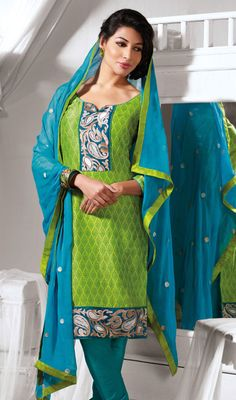 Lime Green Cotton Silk Chudidar Suit Price: Usa Dollar $98, British UK Pound £58, Euro73, Canada CA$106 , Indian Rs5292.
