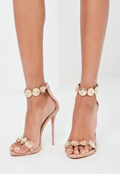Missguided - Peace   Love Nude Embellished Strap Heeled Sandals