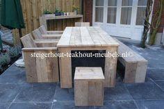 Steigerhout tuinset 200 x100 x 78 Classic Outside AANBIEDING   Steigerhout & Teakhout meubels online bestellen! Gratis bezorgd, sterk in maatwerk en veilig, online betalen.