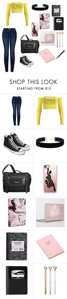"""""""College Student"""" by babygirlinwonderland ❤ liked on Polyvore featuring 2LUV, Converse, Eloquii, Tumi, Casetify, Kate Spade, 8 Oak Lane, Mead and John Lewis"""