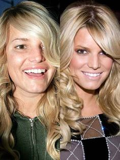 Jessica Simpson with and without makeup. So if you were feeling bad about yourself, here's a pick me up. (: