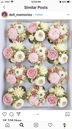 Floral piping in buttercream great for special occasions Cupcakes Flores, Floral Cupcakes, Floral Cake, Buttercream Cupcakes, Cupcake Cakes, Mocha Cupcakes, Banana Cupcakes, Strawberry Cupcakes, Easter Cupcakes