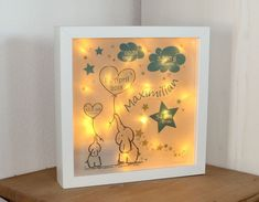 personalized night light for childbirth - baby and children& LED motif lamp - elephants in blue - personalized NIGHTLIGHT baby & kids lamp GIFT birth - Café Vintage, Night Lamps, Lampe Led, Baby Kind, Shadow Box, Night Light, Birth, Diy And Crafts, Alice