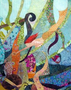 Little Mermaid  Quilt Fabric Art by ccollier on Etsy, $800.00  Love the fluid feel of this one...