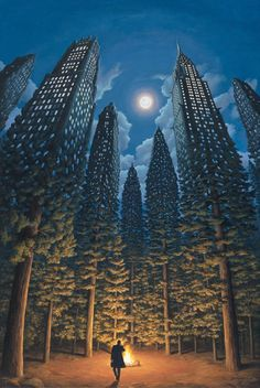 """Formally trained as an architect, Toronto native Rob Gonsalves has been painting his incredible, surrealistic landscapes full time since 1990.    The Sun Sets Sail        He describes his style as """"magical realism"""" and has stated in an interview…       I'm always trying to develop concepts that have an expression of imagination or a sense of wonder or a sense of magic.      Bedtime Aviation        Gonsalves spends a lot of time planning his works in pencil sketches and then transferring…"""