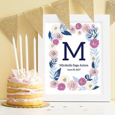 Decorate your walls with a beautiful floral art print. This art print features a monogram and name of your choosing surrounded by a beautiful wreath in blue, pink, and green. Print measures 8 in x 10 in. Newborn Room, Beautiful Baby Shower, Paper Source, Baby Prints, Medium Art, Nursery Decor, Birthday Cake, Floral, Instagram Posts