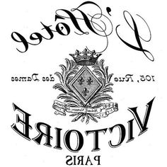 """""""L' Hotel Victorie Paris"""" French graphic in reverse image:"""