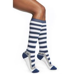 FiveLo 'Dallas' Stripe Socks ($11) ❤ liked on Polyvore featuring intimates, hosiery, socks, striped socks, stripe socks, high socks, print socks and long socks