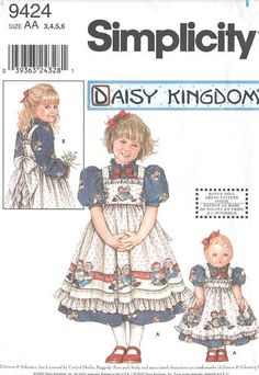 Daisy Kingdom DRESS & PINAFORE Sewing Pattern  ~ Matching doll clothes too!