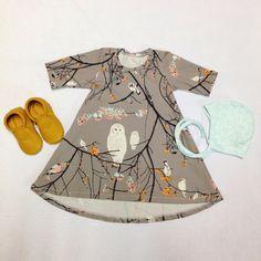 Baby Girl Owl Custom Handmade Dress Fall