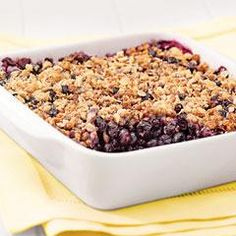 Blueberry Crisp Recipe... Delicious anytime. Made with fresh blueberries, brown sugar, cooking oats and ground cinnamon.