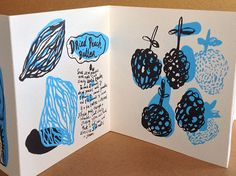 A two color silkscreen accordion book with illustrated recipes for making jellies, butters, and x Ink Illustrations, Book Illustration, Graphic Design Illustration, Accordian Book, Art Zine, Principles Of Art, Bookbinding, Art Sketchbook, Book Design