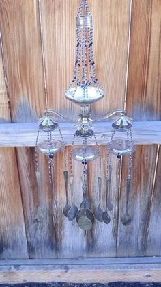 Wind chime made rustic silver spoons - steampunk home decoration - black and purple glass beads - re purposed garden art upcycled kitchen