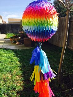 This amazing Pinata will add lots of fun to your event, fill it up and use it as a real pinata or just as a decoration. Handmade and decorated with tissue paper or crepe paper, and a 3ft long tissue paper tassel garland. 32 circumference aprox. I do custom orders, please contact me if you need any color combination.