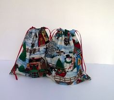 2 Christmas Village Gift Bags Christmas Upcycled by debupcycles  Use coupon code PIN10 for 10% off anything in my shop.