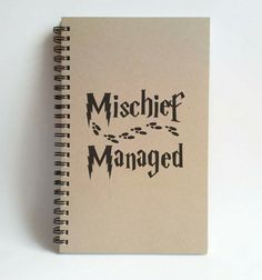 Check out this item in my Etsy shop https://www.etsy.com/listing/242710667/mischief-managed-foot-prints-5x8-journal