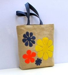 Handmade unique jute tote bag artisticappliqued with by Apopsis