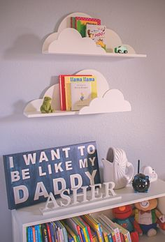 Cloud Shelves for Nursery Wall Decor - Love this for a hot air balloon or airplane themed nursery. There are so many ways to incorporate these in!