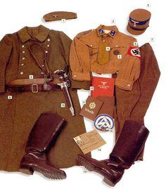 "SA- Truppfuhrer (Sergeant 1st class) SA-Standarte 143. Alsace, 1941 01 - forage cap 02 - ""Schaftmütze der SA""- SA service cap, with blue markings of the SA Group Upper Rhine 03 - linen sweatshirt, rank insignia and unit number on the collar 04 - SA tie with NSDAP member badge 05 - Bronze SA Sport Badge 06 - NSDAP armband 07 - breeches 08 - service coat 09 - leather main belt 10 - leather boots 11 - SA Sport Badge ID card"