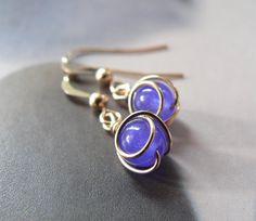 Jade earrings gold filled wire wrapped earrings dangle by Mirma, $26.00
