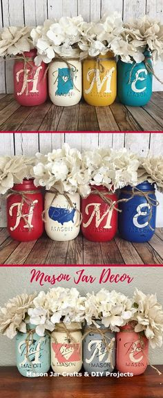 Absolutely LOVE these mason jars customized with my home state. Perfect for farmhouse decor. by nancy Jar Crafts, Bottle Crafts, Crafts To Do, Home Crafts, Pot Mason, Mason Jar Gifts, Mason Jar Diy, Mason Jar Projects, Jar Art