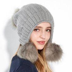 a1a686ba Pom pom knit hat with ear flaps for women winter outdoor ski earflap hat