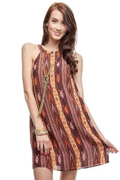 Relaxed A-Line Sleeveless Racerback Tunic Dress - add a Boho necklace, Boho bag and cute sandals.