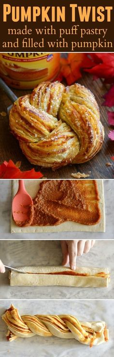 Pumpkin Twists: Flaky puff pastry is stuffed with spiced pumpkin and topped with a vanilla glaze!