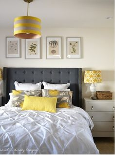 Gray/yellow Bedroom With Classic Tufted Headboard