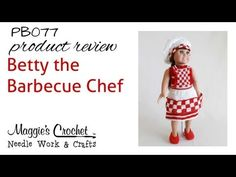 """Maggie's Crochet · 18"""" Doll Betty the Barbecue Chef Crochet Pattern"""