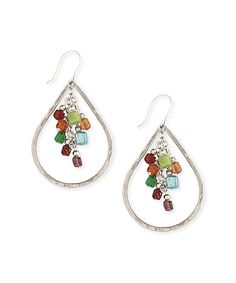 Look what I found on #zulily! Silver & Green Bead Cluster Hammered Teardrop Earrings by ZAD #zulilyfinds
