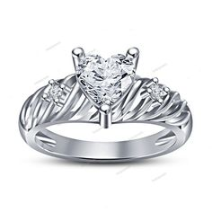 Romantic Valentine's Day Gift For Her 14K White Gold Finish Three Stone Ring…