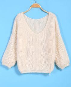 V Neck Loose Knit Sweater 17.67