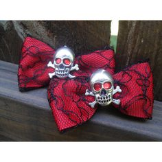 True Blood Gothic Red Eyes 2 Hair Bows, Emo, Scene, Lolita, Rave,... ($7.50) ❤ liked on Polyvore