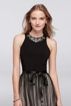 A collar of sparkling gems adds glitz to this jersey-bodice fit-and-flare dress, while a sheer mesh overlay adds movement and dimension to the skirt.  By Cachet  Polyester, spandex  Back zipper; fully lined  Dry clean  Imported